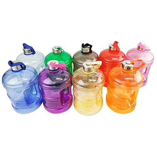 ea48b2e914 1/2 Gallon or 1 Gallon BPA FREE Reusable Plastic Drinking Wide Mouth Water  Bottle Jug Container with Holder Stainless Steel Cap