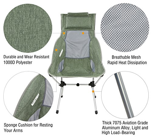 Marchway Lightweight Folding High Back Camping Chair With