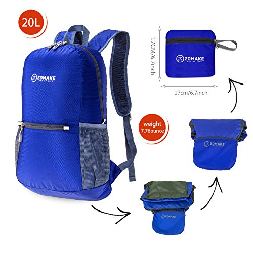 0e720de64b ZOMAKE Ultra Lightweight Packable Backpack Water Resistant Hiking Daypack