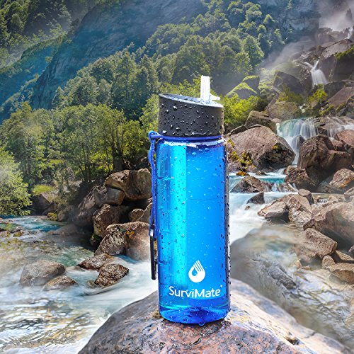 SurviMate Water Filter Bottle 2 Stage Integrated Personal Filter