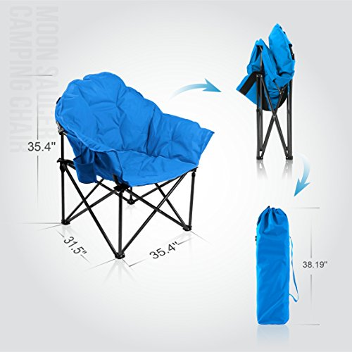 ALPHA CAMP Folding Oversized Padded Moon Saucer Chair With Cup Holder ...