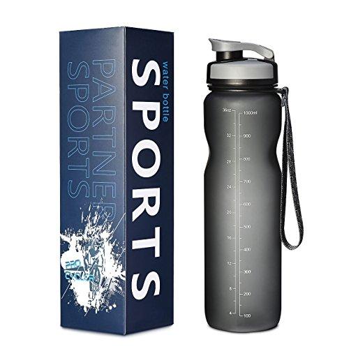 OMORC Sports Water Bottle 32oz/1L, Wide Mouth Fast Flow, Non-Toxic BPA Free Eco-Friendly Tritan Plastic, Flip Top Leak-proof Lid -One Click Open, ...