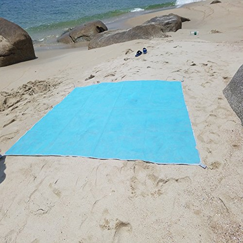 Family Beach Blanket: Sand Proof Beach Blanket Dirt & Dust Free Picnic Mat Blue