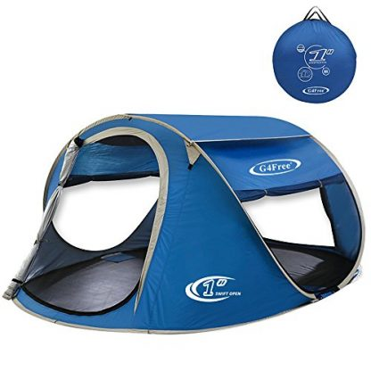 225 & G4Free Pop Up Tent 3-4 Person Automatic and Instant Setup Sun Shelter Water Resistent Anti-UV Beach Cabana for Hiking Camping