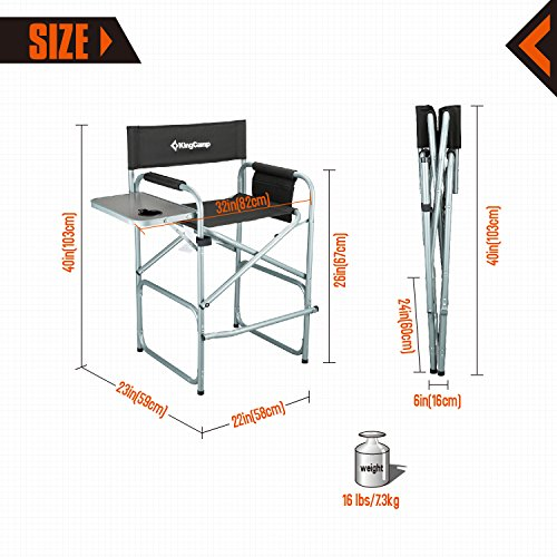 KingCamp Tall Director Chair Collapsible With Side Table ...