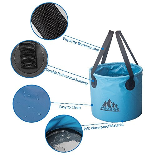 Ruipoo Collapsible Bucket Camping Water Storage Container with Lid