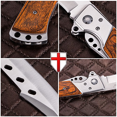 Hunting Folding Knife With Rosewood Handle Tactical Edc
