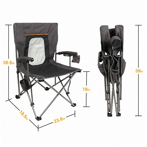 PORTAL Mesh Back Mountaineering Leisure Camping Quad Folding Chair With Cup  Holder ...