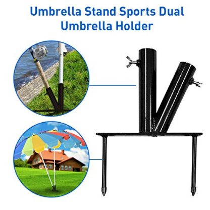 Umbrella Stand Sports Dual Umbrella Holder Fishing Pole Stand