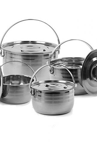 Camping Cookware Set Compact Stainless Steel Campfire
