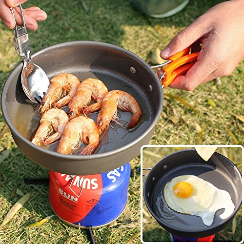 Animamiracle 14 15 Piece Camping Cookware Mess Kit Hiking
