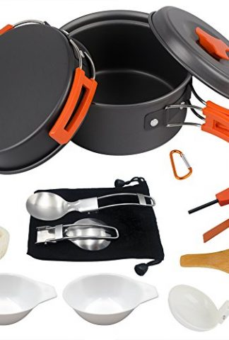 AnimaMiracle 14/15 Piece Camping Cookware Mess Kit, Hiking