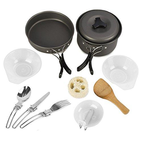 Aoduoer Camping Cookware Mess Kit Outdoor Cooking Equipment Cookset
