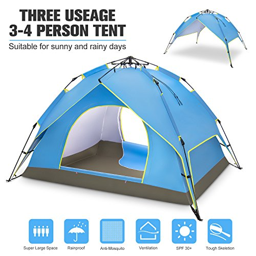 BATTOP 4 Person Family C&ing Tent ...  sc 1 st  Best C& Kitchen & BATTOP 4 Person Family Camping Tent 3 Usages Double Layer ...