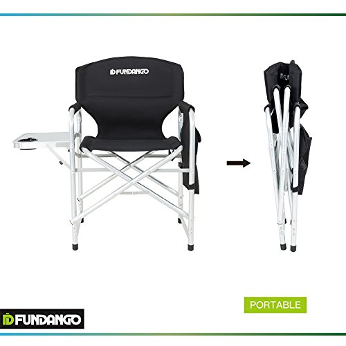 Fundango Heavy Duty Aluminum Folding Director S Chair With Side Table
