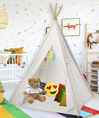 Cotton Canvas White Kids Teepee Tent ... & Cotton Canvas White Kids Teepee Tent | Tipi Tents Indoor Outdoor ...