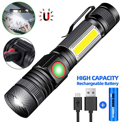 30000LM LED Flashlight T6 COB Torch Rechargeable Work Light Tail Magnet 4 Modes